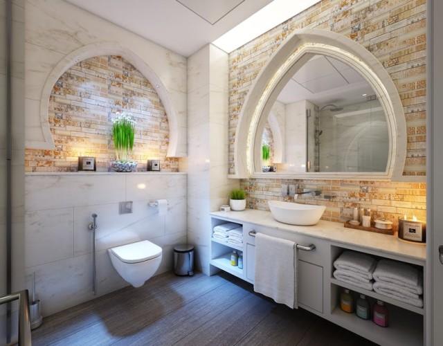Kamień w łazience w orientalnym stylu