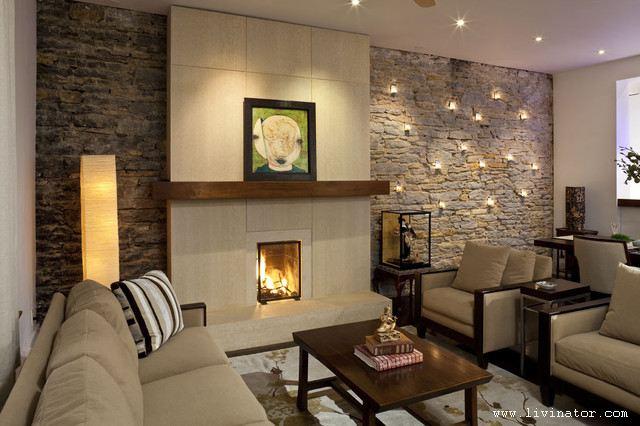 Kamie na cianie w pi knych aran acjach for Idea decorativa sala de estar pequeno espacio